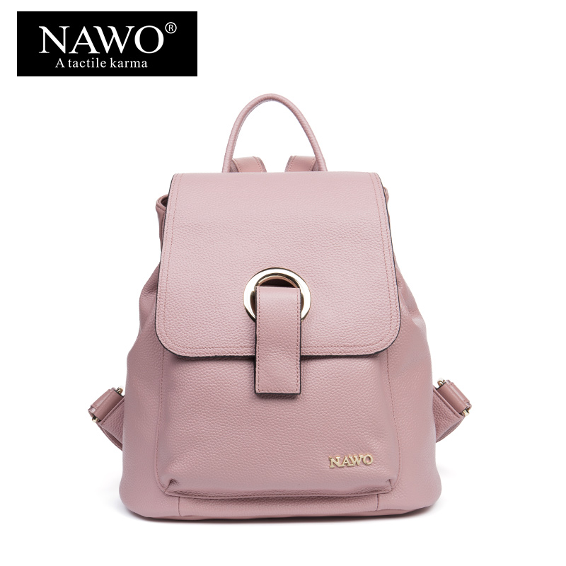 NAWO Cow Genuine Leather Women Backpacks For Teenager Girls Designer School Bags New Arrival Escolar Bagpack Hight Quality Sac new brand designer women fashion backpacks simple koran style school for teenager girls ladies shoulder bags black