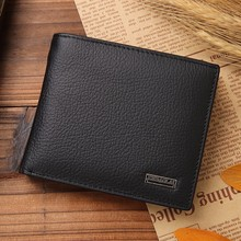 Luxury 100% Genuine Leather Wallet Fashion Short Bifold Men  Casual Soild s With Coin Pocket Purses Male