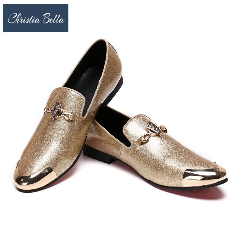 Christia Bella Trend Men Gold Leisure Dress Shoes Patent Leather Round Toe Casual Slip on Wedding Shoes Party Dance Shoes SummerChristia Bella Trend Men Gold Leisure Dress Shoes Patent Leather Round Toe Casual Slip on Wedding Shoes Party Dance Shoes Summer