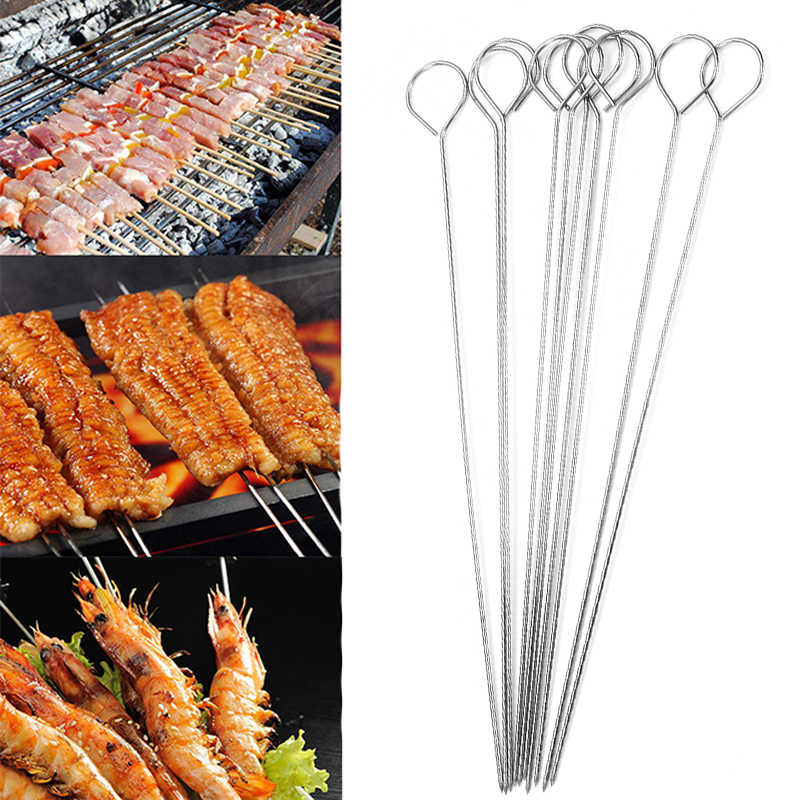 5/10Pcs Meat Goose Round Roast Skewers Stick Stainless Steel BBQ Needle Barbeque Skewers Kitchen Utensils Outdoor Camping Picnic