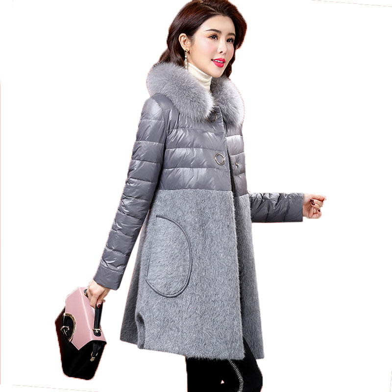Rabbit velvet Stitching Down jacket Womens Winter Coat New 2017 Fashion Fur collar Slim Outerwear Female White Duck down Parkas