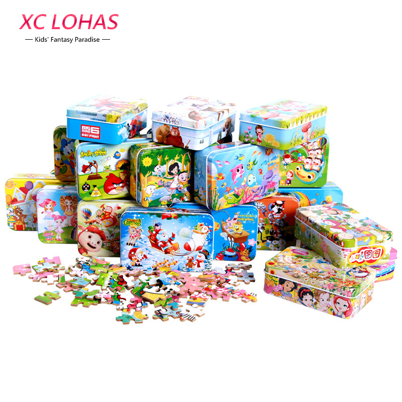 60pcs/set Cartoon Wooden Puzzle Toys Iron Box Package DIY Educational Jigsaw Puzzle for Kids Early Learning Montessori Toys children s early childhood educational toys the bear change clothes play toys creative wooden jigsaw puzzle girls toys