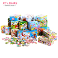 60pcs/set Cartoon Wooden Puzzle Toys Iron Box Package DIY Educational Jigsaw Puzzle for Kids Early Learning Montessori Toys