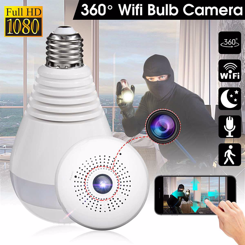 Image 4 - 360 Degree Wireless WIFI IP Light Camera 1080P Bulb Lamp Panoramic FishEye Smart Home Monitor Alarm CCTV WiFi Security Camera-in Surveillance Cameras from Security & Protection
