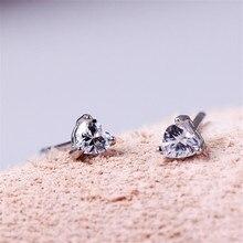 цена на 1 Pair Silver Round Rhinestone Stud Earrings For Women Zircon Ear Piercing Studs Silver Jewelry Women Girl Gift