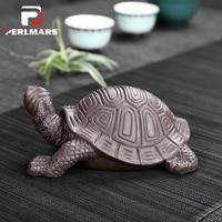 Creative Boutique Auspicious Longevity Turtle Figurine Yixing Zisha Tea Pet Simulation Animal Model Lucky Feng Shui Home Decor