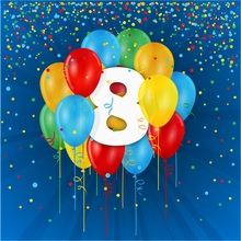 Laeacco Happy 8th Birthday Colorful Balloon Child Photography Backgrounds Customized Photographic Backdrops For Photo Studio
