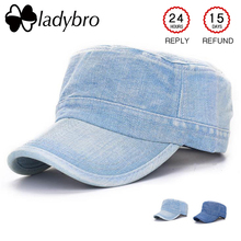 Ladybro, винтажная Военная Кепка, женская, мужская, джинсовая кепка, летняя, одноцветная, синяя кепка, регулируемая, с плоским верхом, Кепка из хлопка, женская, Мужская
