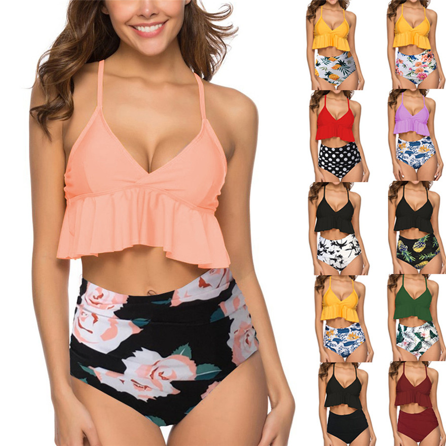 2019 Estate Costumi Da Bagno Delle Donne A Due Pezzi Costumi Da Bagno Top Increspato A Vita Alta Bikini Bottom Set Switmsuit #0320 A #487