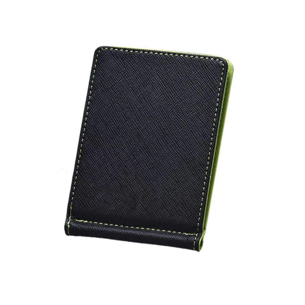 男性の革シルバー財布スリムスリム財布黒 ID クレジットカードホルダー billeteras パラやつ carteras やつ