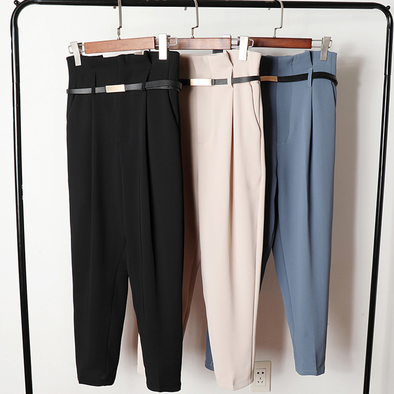 BGTEEVER OL Style High Waist Women Harem Pant Sashes Work Business Trousers Casual Female Pants Pantalones Mujer Spring