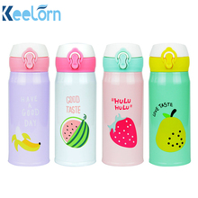 New Fruit Pattern Thermocup Stainless Steel Thermos Bottle 350ML 500ML Outdoor Vacuum Insulation Water Bottle Transhome