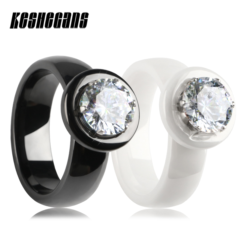 Big Crystal Rings Black White Smooth Ceramic Rings With Bling Big Transparent Rhinestone Women Fashion Jewelry Rings For Women big crystal rings black white smooth ceramic rings with bling big transparent rhinestone women fashion jewelry rings for women