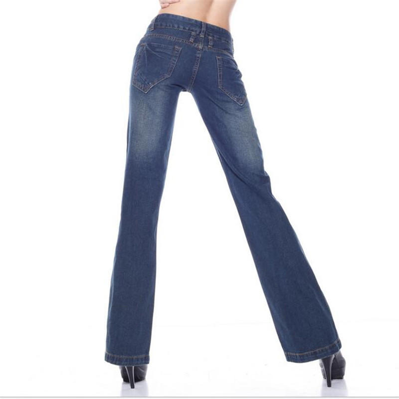 New Vintage mid waist slim butt-lifting boot cut wide leg flare women's straight jeans pants elastic waist full length trousers