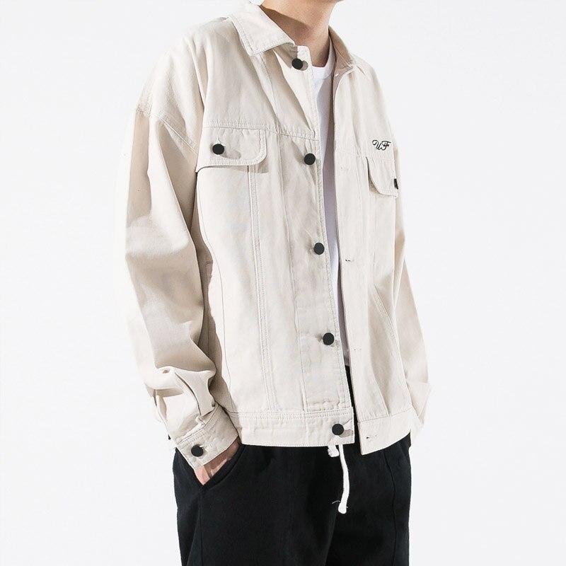 El De Calidad Hop Hip 2019 Jacket cintura Casual Streetwear black Cw162 Enwayel Beige Jacket Patrón La Chaqueta Nueva Impresión Primavera Denim Marca Ropa Llegada Uwcv4q7