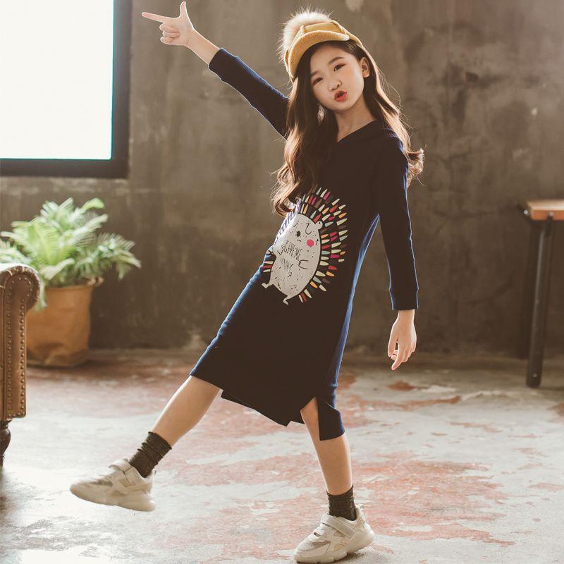 Nouveau 2019 Printemps Bébé robe pour filles Petits Enfants Coton Robe sweat à capuche enfants En Bas Âge Longue Style Chemises de Bande Dessinée Motif, #3008 - 4