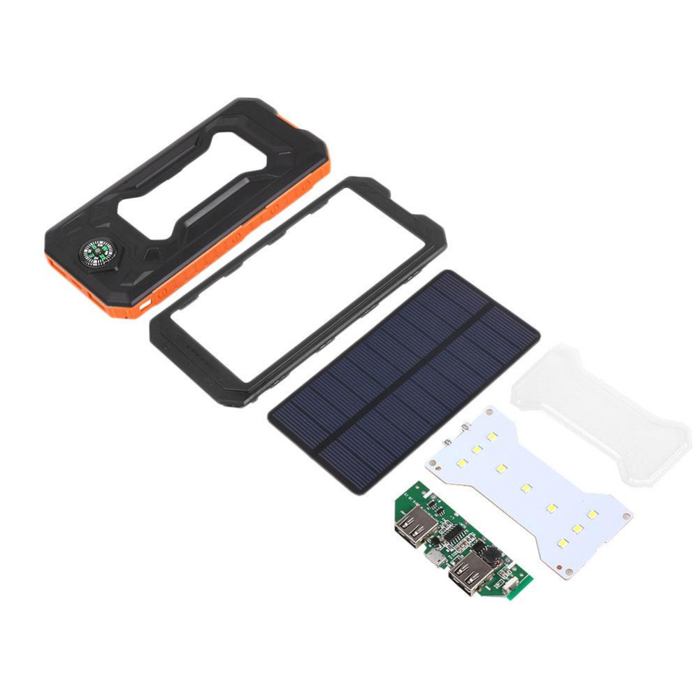 AMZDEAL Solar Power Bank Dual USB Outdoor Sports External Battery Waterproof Portable Charger With LED Lighting