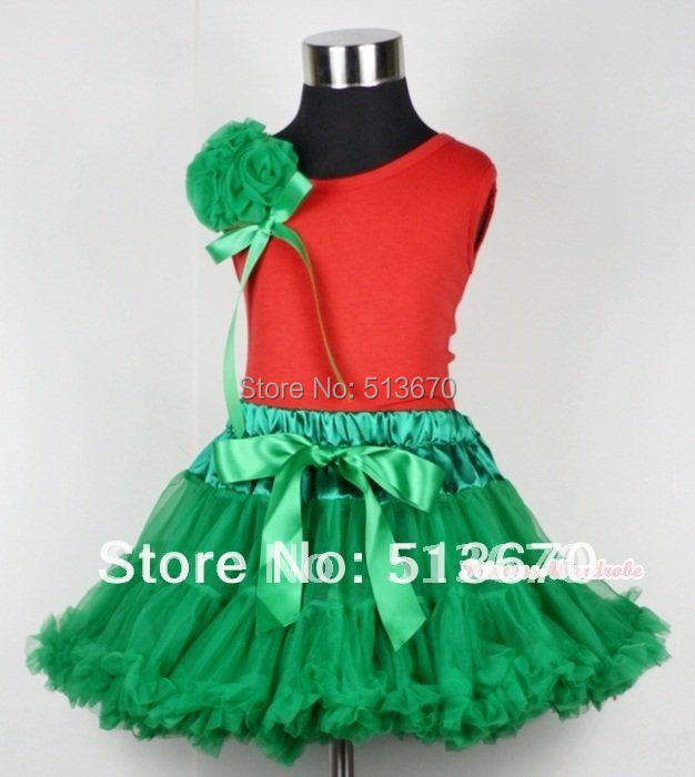 Christmas Kelly Green Pettiskirt with a Bunch of Kelly Green Rosettes and Green Bow Red Tank Top MAM452 a christmas carol and other christmas writings