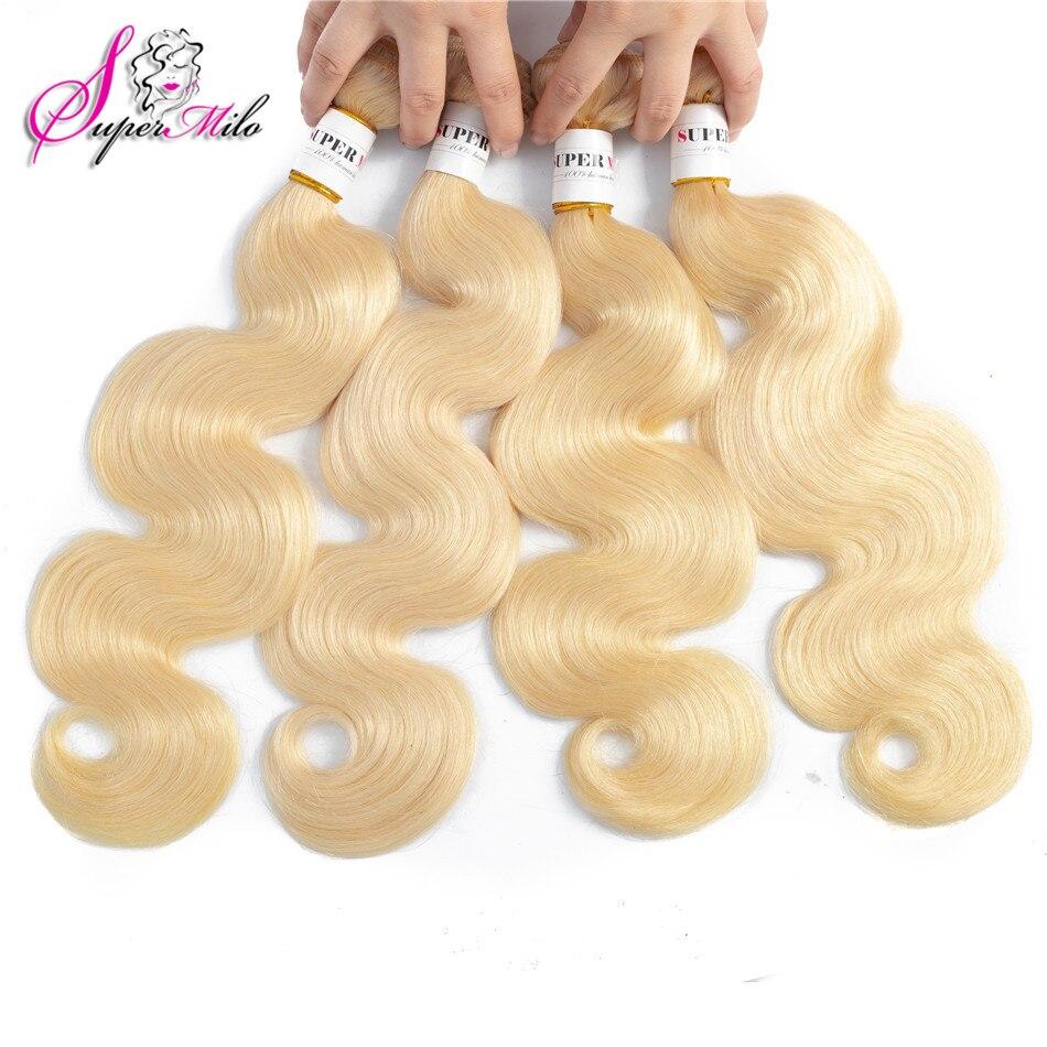 Супер мило 613 светлые волосы индийские тела волна пучки 10-28 дюймов remy волосы 1 шт. Уток 100% натуральные волосы расширение 613 Связки