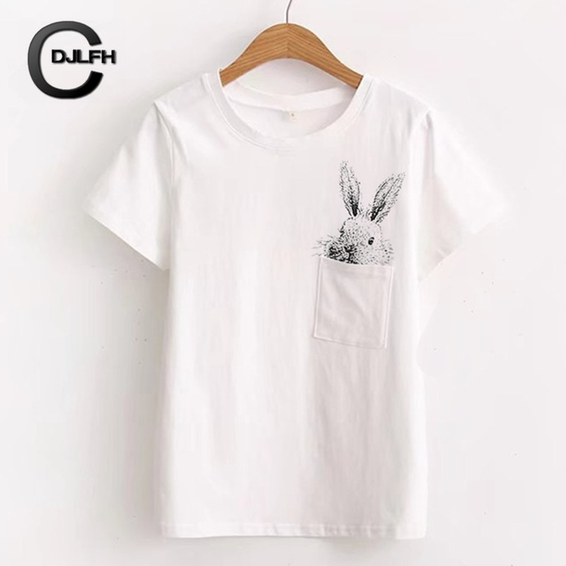 CDJLFH 2018 Newest Women   Blouse   100% Cotton Tees Fashion Pocket Rabbit Printing White Top   Shirt   Short Sleeve Female Chemise