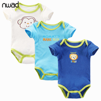 2017 New Casual Baby Boy Clothes Newborn Baby Bodysuit Short Sleeved Cotton Baby Wear Toddler Infant Clothing Baby Outfit FF349