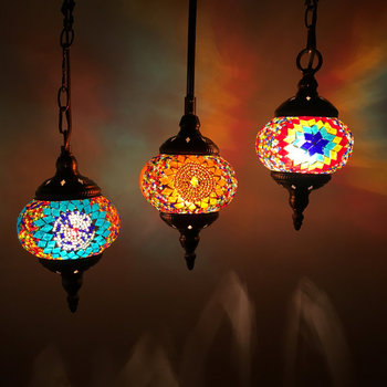Artpad 地中海スタイルの装飾手作りトルコペンダントライトガラスシェードモザイクペンダントランプバーコーヒーショップ E14