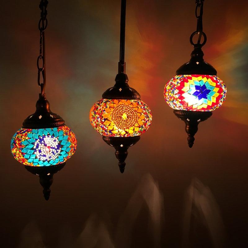 Bozz'art Style Méditerranéen Décoration À La Main Turc Pendentif Lumière En Verre Nuances Mosaïque Pendentif Lampe Pour Bar sweat tricoté E14