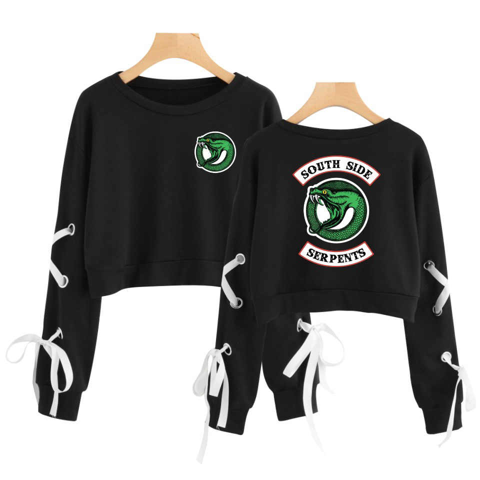 2019 New Riverdale Crop Top Hoodie Sweatshirts Pullovers Women South Side Serpent Sleeve Sexy Openwork Bow-Knot Capless Hoodies
