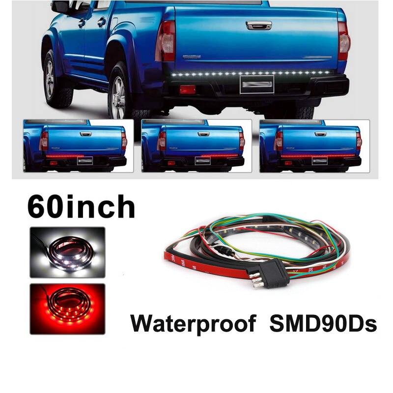 60 zoll Rot/Weiß Flexible 5-funktion Tailgate LED Streifen Licht Bar für Umzukehren Läuft Brems Blinker für Pickup lkw SUV