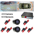 New Dual Channel Car 13mm Flat Sensors Reverse Backup Radar Sound With Front View Camera and Rear view Camera