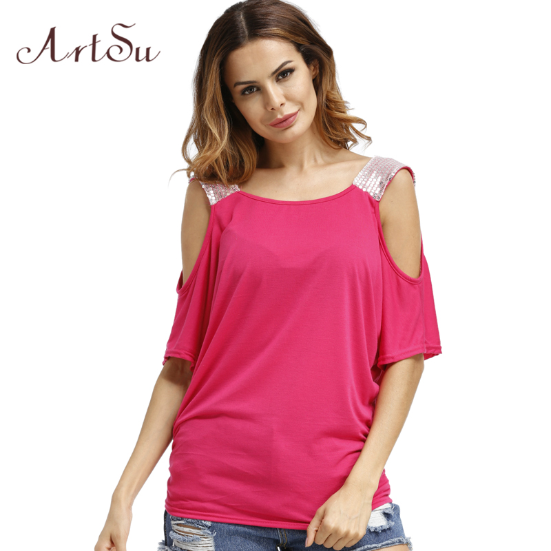 ArtSu Off the Shoulder Tops for Women Sequins Short Sleeve Woman Tshirt Top Summer Plus Size Tee Shirt Camiseta Mujer ASTS20060