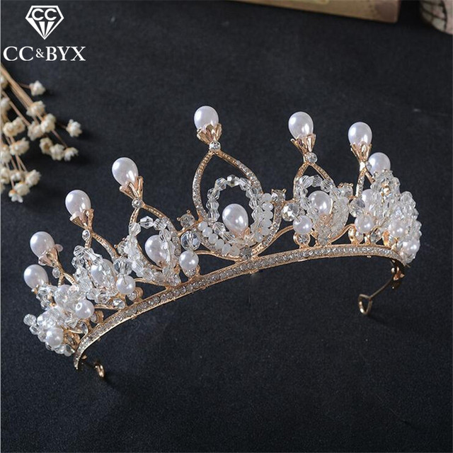 Cc Crowns Tiaras For Pageant Bride Crystal Pearl Baroque Vintage Wedding Hair Accessories Gold Color
