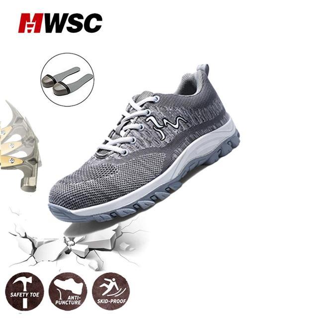 MWSC Người Giày Thoáng Khí Làm Việc Giày Thép Không Gỉ Mũi Nắp Giày Công Sở dành cho Nam Xây Dựng An Toàn Giày Ngoài Trời Climing Giày