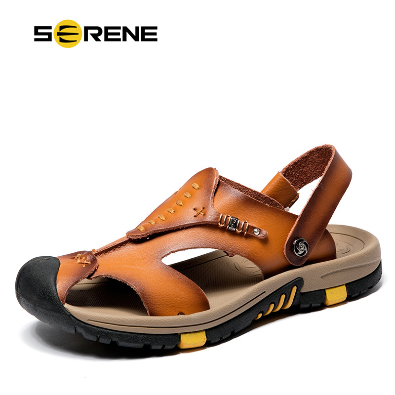 SERENE Brand Cow Leather Safety Toe High Quality Sandals Big Size 38-45 Shoes Men 2018 Casual Summer Breathable Beach Sandalias