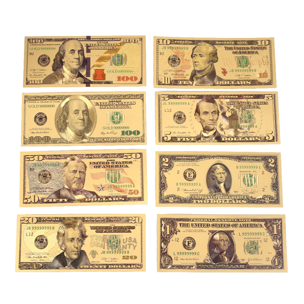 1 2 5 10 20 50 100 Dollar Commemorative Notes Gold Antique Plated Fake Money High Quality 24K Gold Plated Dollars Banknotes
