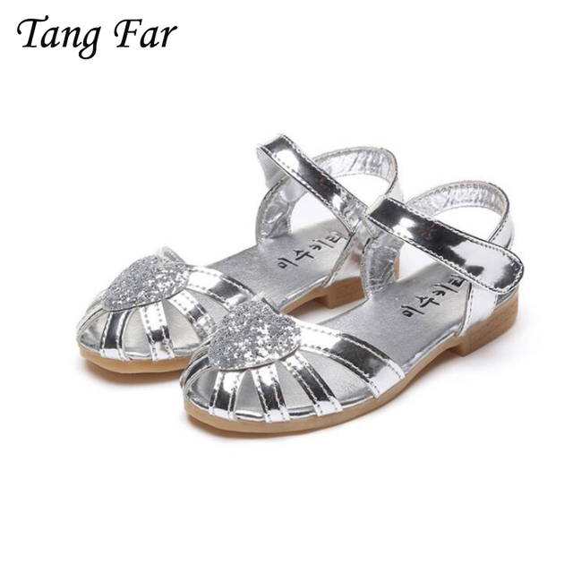 86744f6c989c4 Fashion Glitter Girls Sandals Korean Solid Color Strap Love Knot Yarn Baby  Shoes Children Gladiator Shoes Champagne Gold Silver