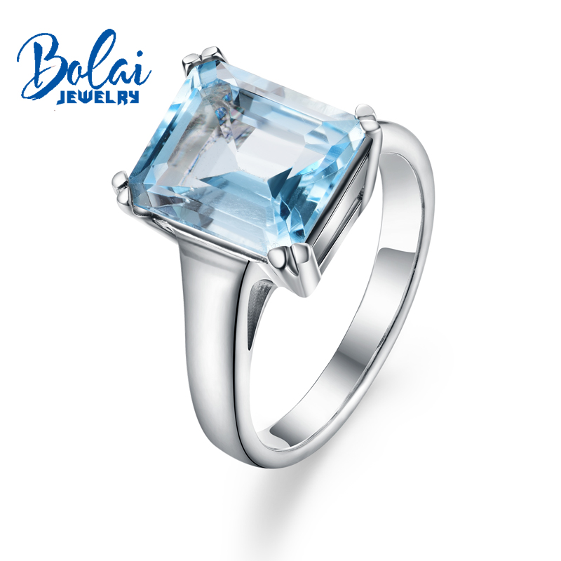 Bolaijewelry,Natural sky blue topaz oct10*12mm Gemstone Ring 925 sterling silver fine jewelry for women daily wear party gift wwd women s wear daily 2012 11 26
