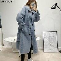 OFTBUY/зимняя куртка для женщин; длинное пальто из зернистой овечьей шерсти; 50% шерсть; двубортный Тренч; уличная одежда