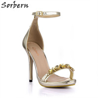 Sorbern Light Gold Lady Shoes Ankle Strap Crystals Women Sandal High Heel Shoes Woman Summer 2018