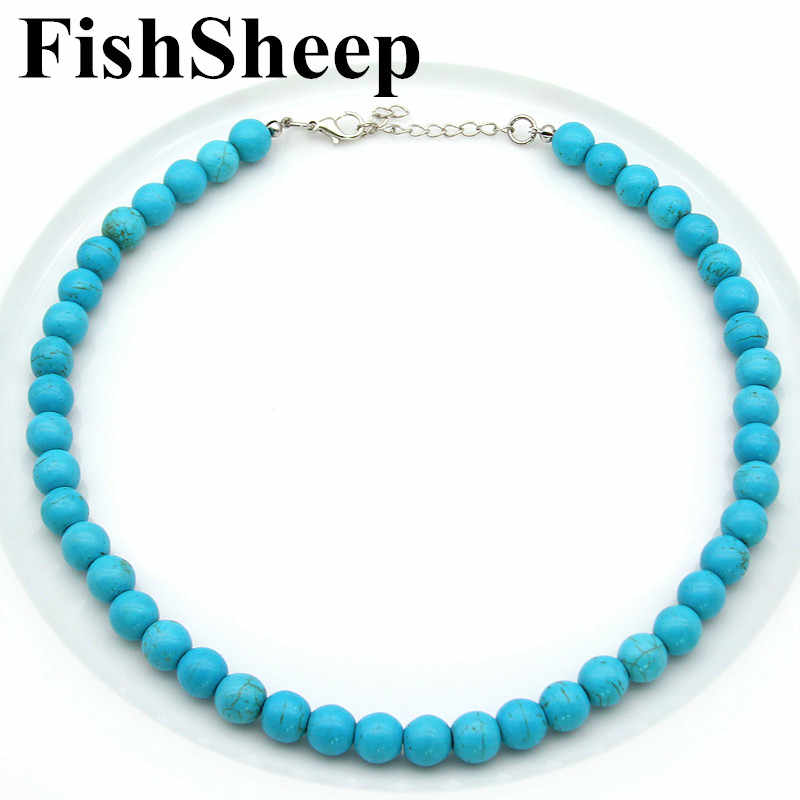 New 10mm Howlite Stone Beads Necklace Bohemian Blue Round Natural Stone Beaded Choker Necklaces Pendants Fashion Female Jewelry