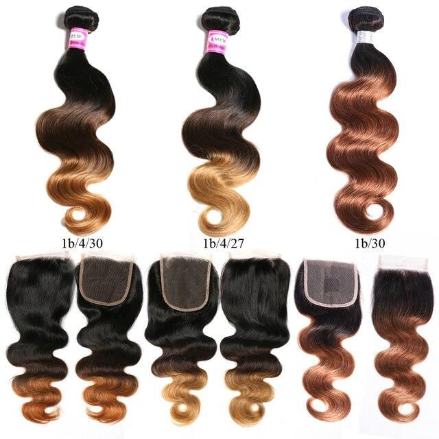 Эффектом деграде (переход от темного к бразильские человеческие волосы плетение пучки волос с закрытием 1b/4/30 Мёд светлые волосы Тело Волна 3 Связки с закрытием Волосы remy удлинитель