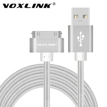 VOXLINK For iphone 4 USB Charger Cable 30 pin Braided Nylon Premium USB Data Sync Charging Cable for iphone 4s iPad 2 3 4 iPod(China)
