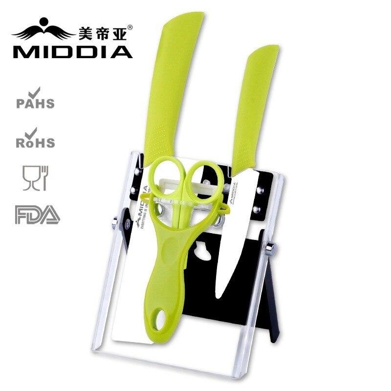 Middia 5pcs Ceramic font b knife b font set with block for kitchen fruit font b