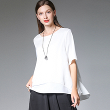 Large size ladies loose casual summer new tops Big chiffon top short sleeve Round neck T-shirt black red white