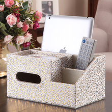 Quality leather desktop multifunctional mobile phone remote control storage box fashion household tissue pumping