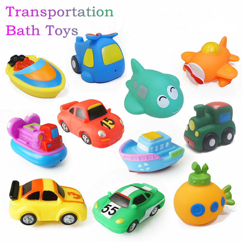 Cool Boat Bath Toy Swimming Pool Baby Toys Kids Water Spray Colorful Car Boat Rubber Toys For Boys Girls Safe Material 4pcs Bath Toy
