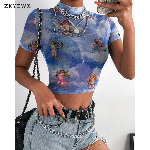 3ee053de ZKYZWX Streetwear Angel Printed Mesh T-Shirt Women Turtleneck Short Sleeve  Tops Spring Summer Casual Slim Fit Transparent Shirts