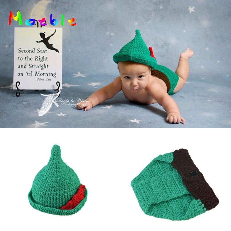 Moeble Newborn Baby Boys Crochet Photo Prop Peter Pan Baby Costume Set Christmas Infant Crochet Cartoon Hat Beanie New Year
