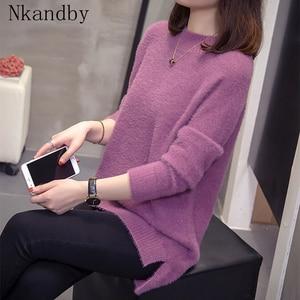 Image 1 - Plus rozmiar kaszmirowy sweter kobiet 2020 jesienno zimowa modne damskie dzianiny topy Split moherowe swetry ciepłe swetry Oversize