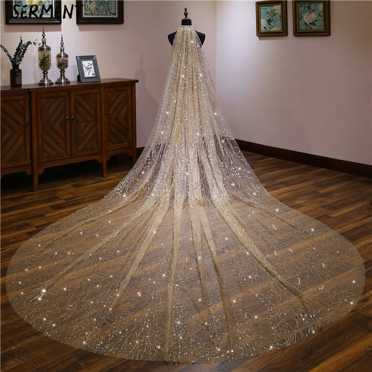 New AliExpress Hot Lace Flower Bridal Veil Europe and America Classic Cathedral Long Veil Wholesale in Bridal Veils from Weddings Events